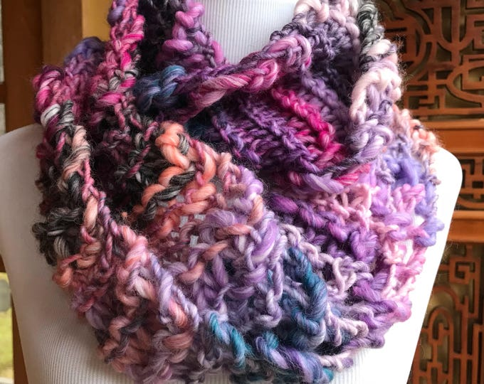 Featured listing image: Hand knit Infinity Circular Scarf in Pinks and Purples FREE SHIPPING