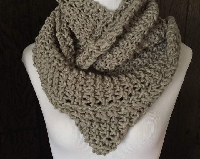 Featured listing image: Outlander Inspired Hand Knit Infinity Scarf with Eyelet Braid Detail Light Gray FREE SHIPPING