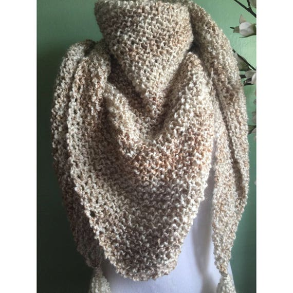 Outlander Inspired Hand Knit Claire's Shawl Wrap in Cream Wheat Color FREE SHIPPING