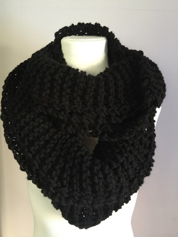 Outlander Inspired Hand Knit Light Infinity Circular Scarf Extra Wide Pure Black Wool Scarf FREE SHIPPING