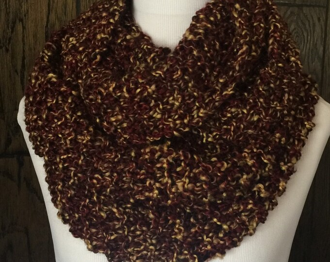 Featured listing image: Outlander Inspired Hand Knit Claire's Cowl Infinity Scarf in Rich Browns with Golden Tones FREE SHIPPING