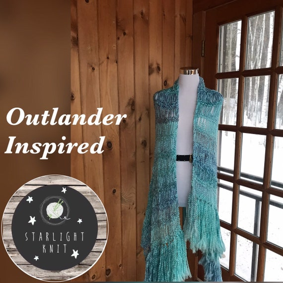 Outlander Inspired Hand Knit Soft and Light Shawl Scarf Wrap FREE SHIPPING