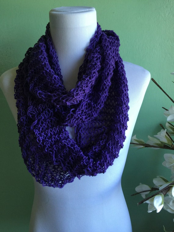 Hand Knit Infinity Scarf Merino Wool Blend Light and Lacy Summer Scarf FREE SHIPPING