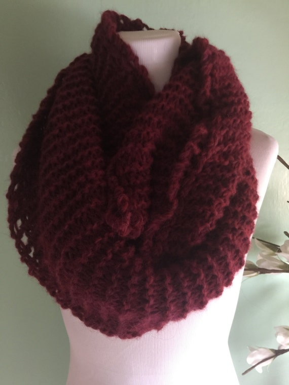 Outlander Inspired Hand Knit Infinity Fashion Scarf with Alpaca Yarn Soft and Lightweight Gogji Heather FREE SHIPPING