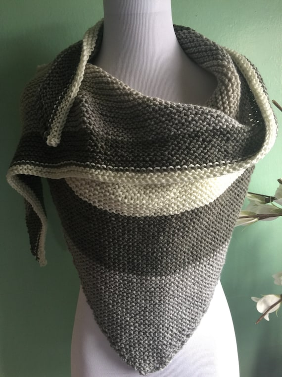 Outlander Inspired  Hand Knit Shawl Scarf with Acrylic and Wool Blend Neutral Colors FREE SHIPPING