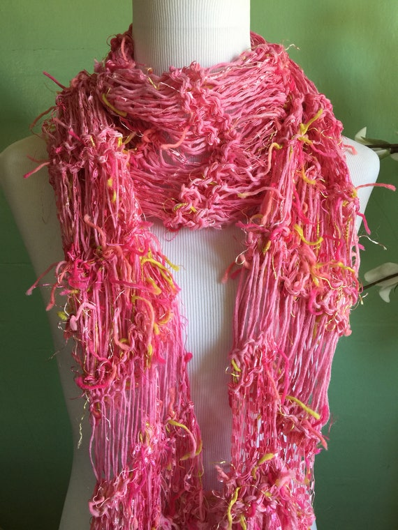 Hand Knit Ladies Fashion Accessory Scarf with Pink and Ribbon Shimmer FREE SHIPPING