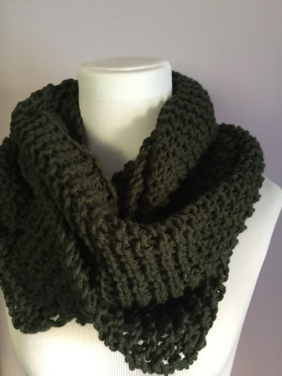 Outlander Inspired Hand Knit Light Infinity Circular Scarf Deep Forest Green FREE SHIPPING