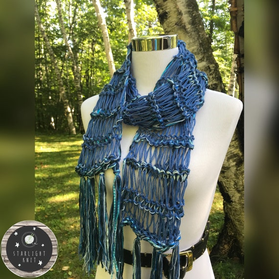 Hand Knit Ladies Fashion Accessory Scarf with Shimmer and Shine FREE SHIPPING