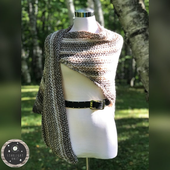 Outlander Inspired Hand Knit Claire's Shawl Wrap in Cream Wheat Color with Brown Stripes FREE SHIPPING