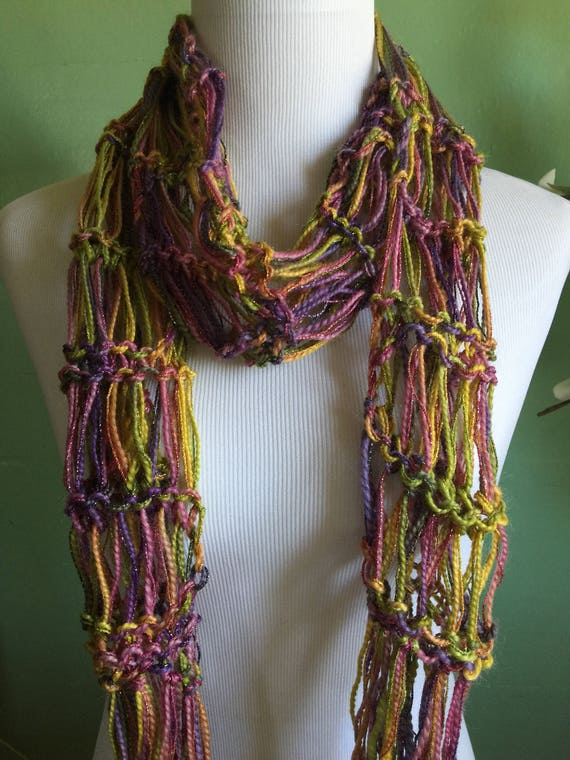 Hand Knit Ladies Fashion Accessory Lightweight Scarf with Shimmer FREE SHIPPING
