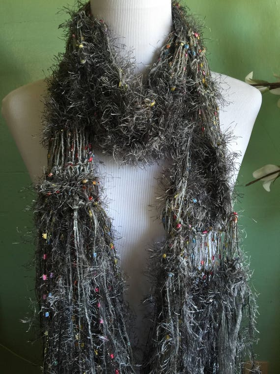 Hand Knit Ladies Fashion Accessory Scarf With Shimmer Grey and Ribbon Scarf FREE SHIPPING