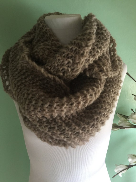 Outlander Inspired Hand Knit Infinity Fashion Scarf with Alpaca Yarn Soft and Lightweight Hare Heather FREE SHIPPING