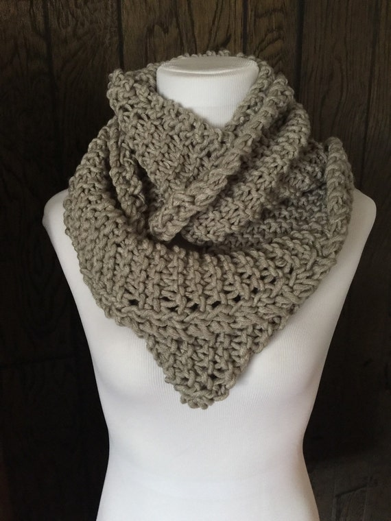 Outlander Inspired Hand Knit Infinity Scarf with Eyelet Braid Detail Light Gray FREE SHIPPING