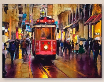 Streetcar,City Life,Rainy Day,Cable Car,Printable Art ,Instant Download,Red,Umbrellas,Abstract,Downloadable Art,Colorful Wall Art,Printable