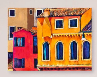 Houses in Italy, Printable Art, Instant Download, Colorful Wall Art, Red, Yellow, Abstract, Downloadable Art,Bright Colors, Italian Village