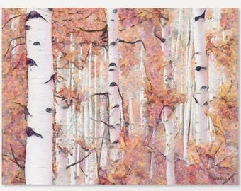 Pastel Aspen Forrest, Aspen Tress, Fall Colors, Printable Art, Instant Download, Colorful Wall Art, Pink Colors, Abstract, Downloadable Art