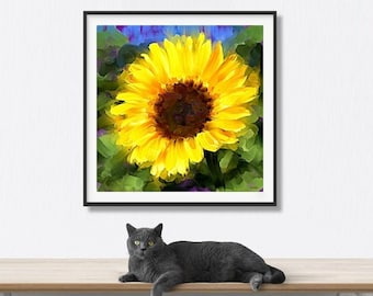 Sunflower, Abstract Painting, Flowers, Instant Download, Printable Art, Floral Print, Botanical, Plants, Downloadable Art, Yellow, Wall Art