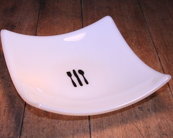 Glass Bowl with Graphic Silverware Design