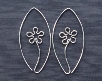 Silver Flower Hoops * Silver Flower Earrings * MetalRocks * Argentium Hoops * Sterling Silver Earrings * Silver Hoops  * Gift for Her