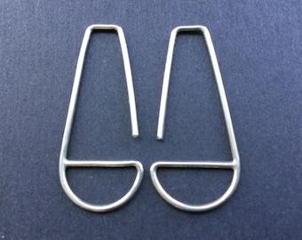 Symmetrical Silver Earrings * Modern Silver Hoops * Minimalist Hoop with a Funky Flare * Simple Classy BoHo Sheek  * Ladies Gift * Mother