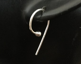 Comma Earrings * Modern Minimalist Hoops with Style * Keep .Com and Carry On * 24 Hour Wear * Argentium Sterling Silver Sports Geek Gift
