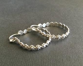 Fancy Silver Hoops * Unique Sterling Hoop Earrings * MetalRocks Pretty SS Flower Pattern * Donna's Design
