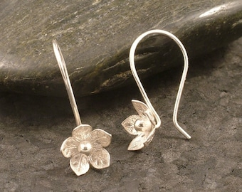 Sterling Dangle Nature Inspired Organic Shape Silver Posts Gift for Her Flowers Handmade Silver Floral Earrings Flower Bud Earrings
