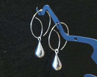 Argentium Silver Fancy Ear Wires * Sterling Hoops * Handmade Simple Hoop Double as Earwire * Earring Findings * Silver Drop Earrings