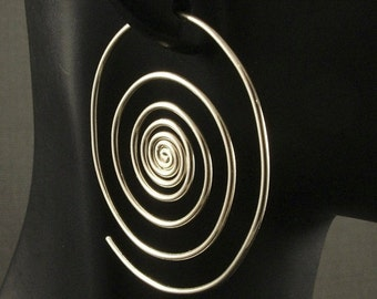Silver Hoop Earrings  * Super Spirals * Sterling Silver Hoops * 2 Inch Hoop * Out of the Vortex * Large Big Swirl Spiral