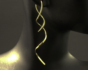 Gold Spiral Earrings /  Long 14K Gold Twist Earrings / Artisan Unique Different Swirl Dangle Spirals / Also Available in Rose Gold