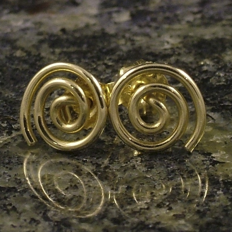 bb8eea014a613 Little Gold Earrings / Small Solid 10K Gold Post Earrings / Swirl Spiral  Simple Classic Tiny Tribal Small Studs