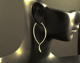 Large Silver Hoop Earrings / Big SS Hoops / Gentle Wave  / Clean Classic  Minimalist  Design