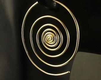 Gold Spiral Hoop Earrings  / Large Spirals / Big Hoops / Out of the Vortex / Super Spirals Unique Different Orbit