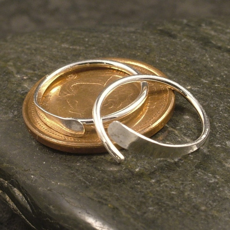 Silver Sleeper Hoops  Hammered Small Argentium Silver Hoop Earrings Catchless Endless Sport Men Ladies Half Inch or Customize Your Size