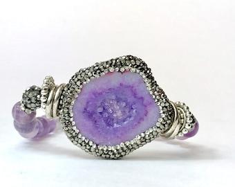 Woman's Bracelet Natural Amethyst Stress Druzy Agate February Birthstone Purple Hematite Silver Beaded Stone Bohemian Boho Yoga Meditation