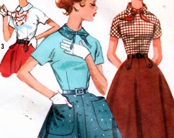 1950s Mail Order Parade 442 Vintage Sewing Pattern Misses Maternity Skirt and Blouse or Tunic Top Size 12 Bust 30