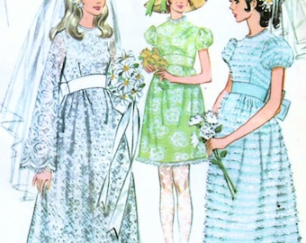 1960s McCall's 2252 Vintage Sewing Pattern Misses High Waist Bridal Dress, Midriff Wedding Gown, Size 14 Bust 36