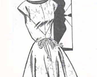 1950s Mail Order 3272 FF Vintage Sewing Pattern Misses Afternoon Dress, One Piece Dress, Size 14 Bust 34