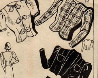 1940s Mail Order 3166 FF Vintage Sewing Pattern Misses Bolero, Jacket, Short Sleeve Jacket, Long Sleeve Jacket Size 14 Bust 32