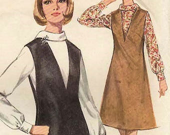1960s Simplicity 5633 Vintage Sewing Pattern Junior and Misses Jumper and Blouse Size 13 Bust 33, Size 14 Bust 34