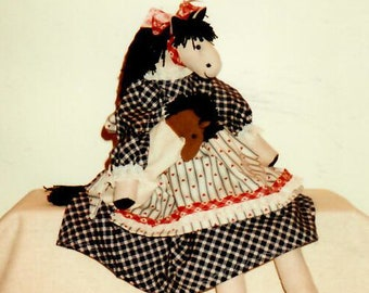"1990s Black Bird Pie ""Mustang Sally"" Vintage Craft Pattern Soft Horse Doll, Baby Horse Doll, Horse Toy 19 Inch Doll"