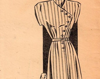 1940s Mail Order 1633 FF Vintage Sewing Pattern Misses Afternoon Dress, One Piece Dress Size 12 Bust 30