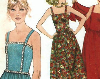 1970s Simplicity 8465 Vintage Sewing Pattern Misses Sundress, Evening Dress, Shawl Size 10 Bust 32-1/2