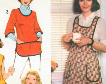 1970s Simplicity 9209 Vintage Sewing Pattern Misses Full Apron, Cobbler Apron, Smock Size Medium, Size Large