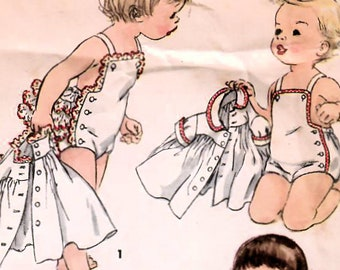 1950s Simplicity 1151 Vintage Sewing Pattern Toddler Sunsuit, Playsuit, Sundress, Jacket Size 1