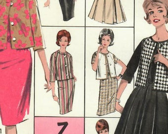 1960s Advance 2978 UNCUT Vintage Sewing Pattern Junior Slim Dress, Sheath, Pleated Dress, Short Jacket, Cardigan Jacket Size 13 Bust 33