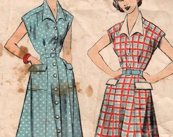 1950s Advance 5780 Vintage Sewing Pattern Misses Shirtwaist Dress Size 14 Bust 32