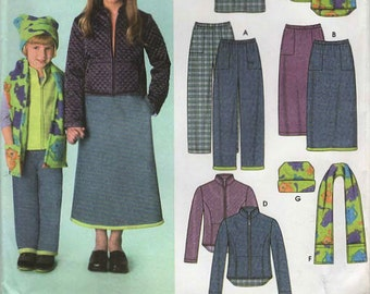 2000s Simplicity 9419 UNCUT Sewing Pattern Girls Pants, Skirt, Jacket, Vest, Scarf, Hat Size 3 - 4- 5- 6