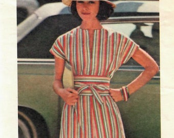 1970s Butterick 4713 Vintage Sewing Pattern Misses Pullover Dress, Obi Sash Size Small
