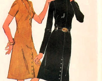 1970s Simplicity 9655 Vintage Sewing Pattern Misses A-line Dress, One Piece Dress, Boutique Dress Size 12 Bust 34